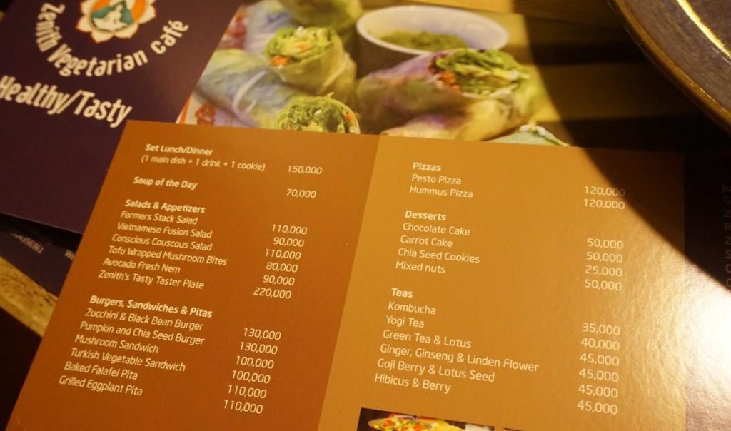 Hanoi zenith menu