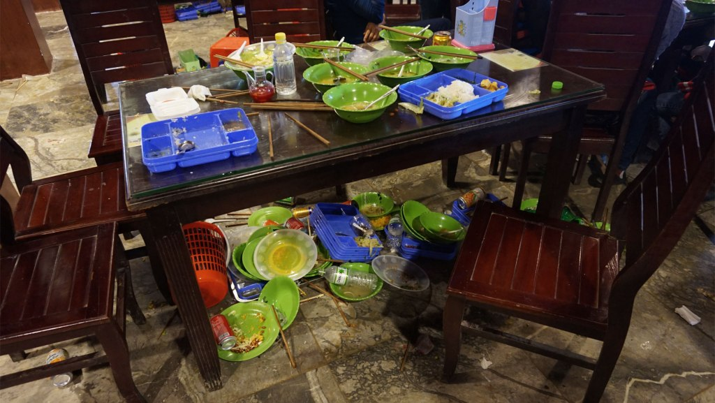 Food trash table Vietnam