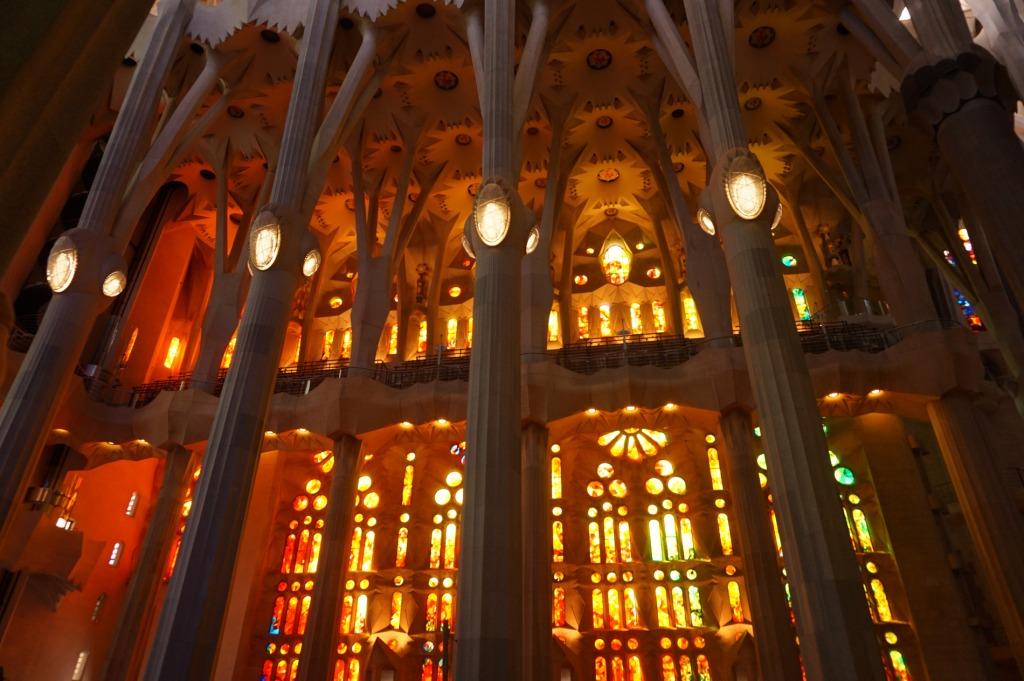 Gorgeous colors inside the Segrada Familia